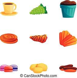 stile, set, francese, colazione, cartone animato, icona