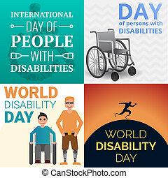 stile, set, gli utenti disabili, giorno, persone, mondo, bandiera, cartone animato