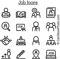 stile, set, icone, lavoro, linea sottile