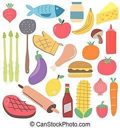 stile, set, illustration., colorito, cibo, isolato, digiuno, scandinavo, vector., cartone animato