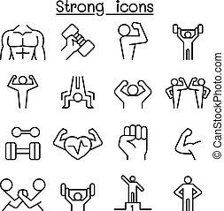 stile, set, linea sottile, forte, icona