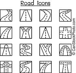 stile, set, linea sottile, strada, icona