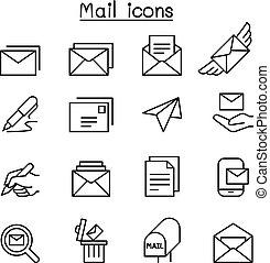 stile, set, magro, posta, linea, icona