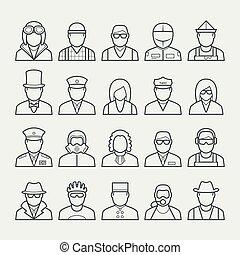 stile, set, persone, professioni, occupazioni, magro, #3, linea, icona