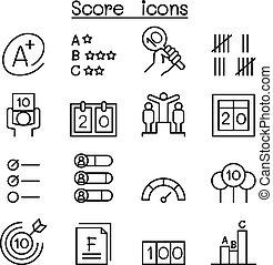 stile, set, punteggio, linea sottile, icona