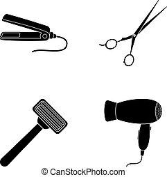 stile, set, razor., parrucchiere, essiccatore, simbolo, straightener, web., collezione, capelli, vettore, nero, illustrazione, icone, casato