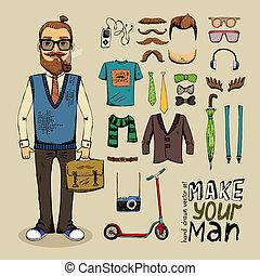 stile, set, retro, uomo