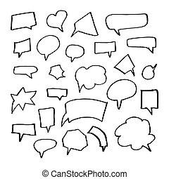 stile, set, scarabocchiare, mano, vettore, discorso, disegnato, bolle