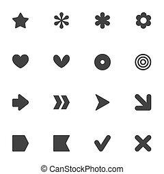 stile, set, semplice, forma, vettore, comune, adesivi, icona