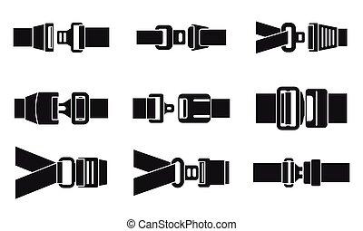stile, set, sicuro, seatbelt, icone semplici