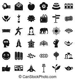 stile, set, studio, yoga, icone semplici
