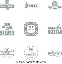 stile, set, superficie, semplice, mare, logotipo