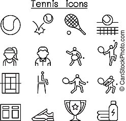 stile, set, tennis, linea sottile, icona
