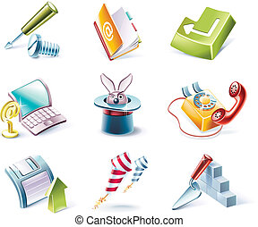 stile, set., vettore, 4, p., cartone animato, icona