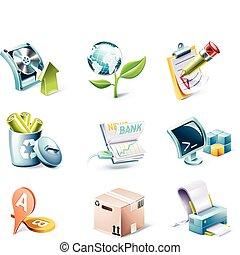 stile, set., vettore, 6, p., cartone animato, icona