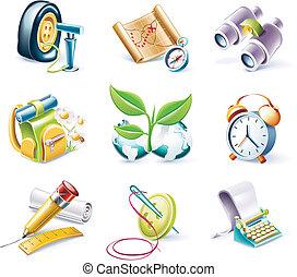 stile, set., vettore, p.10, cartone animato, icona