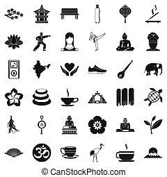 stile, set, yoga, icone semplici