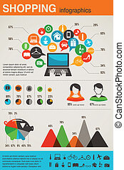 stile, shopping, set, disegno, retro, infographics