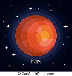 stile, spazio, pianeta, stelle, marte, baluginante, cartone animato