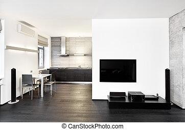stile, stanza, moderno, minimalismo, toni, interno, monocromatico, disegno, cucina