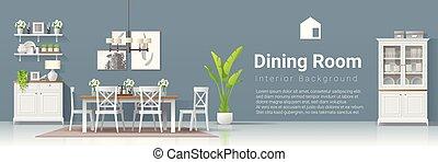 stile, stanza, moderno, rustico, cenando, 2, fondo, interno