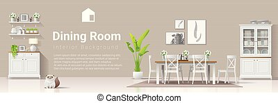 stile, stanza, moderno, rustico, cenando, 4, fondo, interno