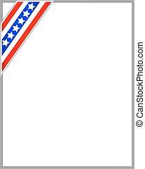 stile, stati uniti, cornice, bandiera, americano, nastro