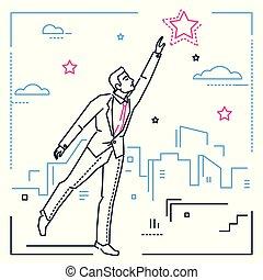 stile, stella, raggiungimento, -, illustrazione, disegno, uomo affari, linea, fuori