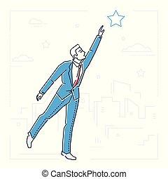 stile, stella, raggiungimento, -, isolato, illustrazione, disegno, uomo affari, linea, fuori