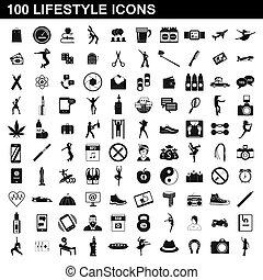 stile, stile di vita, icone, set, semplice, 100