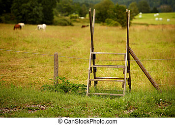 Stile - A stile is a ladder over a fence.
