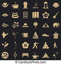 stile, stuoia yoga, icone, set, semplice