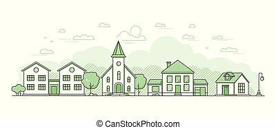 stile, suburbano, moderno, -, illustrazione, vettore, disegno, linea sottile, paesaggio