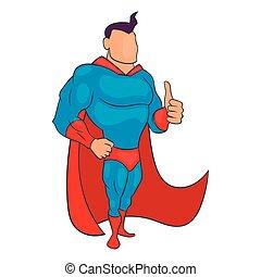 stile, superhero, abbandono, pollici, icona, cartone animato