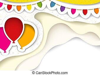 stile, taglio, decorazioni, festa, palloni, fuori