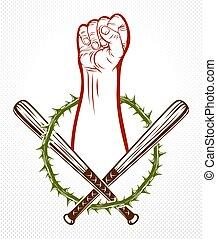 stile, tatuaggio, caos, forte, anarchia, rioter, stretto, ribelle, revolutionary., pugno, logotipo, partigiano, emblema, aggressivo, vendemmia, vettore, o