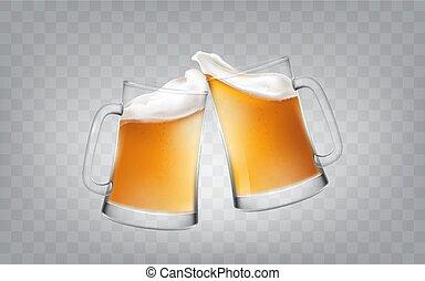 stile, tazze, realistico, birra, due, illustrazione, salute, vetro, birra, vettore, glasses., tostare