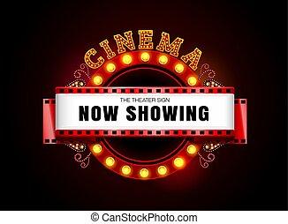 stile, teatro, cinema, segno neon, ardendo, retro, cerchio