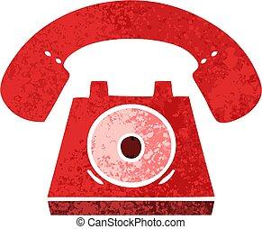 stile, telefono, illustrazione, retro, cartone animato, rosso