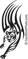 stile, tribale, -, illustrazione, tiger, vettore
