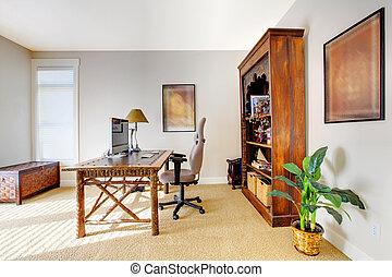 stile, ufficio, classico, lusso, tropico, casa