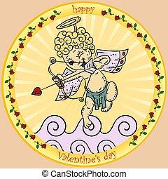 stile, valentines, childrens, scribbles, colorare, adesivo, cupido, tema, cupido, giorno, freccia, illustrazioni, tiri, rotondo, nuvola