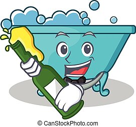 stile, vasca bagno, carattere, birra, cartone animato