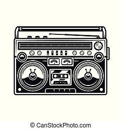 stile, vecchio, boombox, illustrazione, vettore, musica, nero