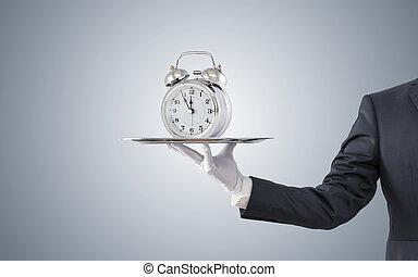 stile, vecchio, offerta, orologio, allarme, uomo affari, vassoio, argento