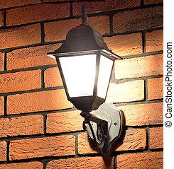 stile, vecchio, parete, lampada, vittoriano, mattone