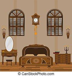stile, vecchio, pavimentazione, legno, windows, camera letto, interno