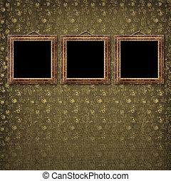 stile, vecchio, stanza, oro, parete, vittoriano, cornici