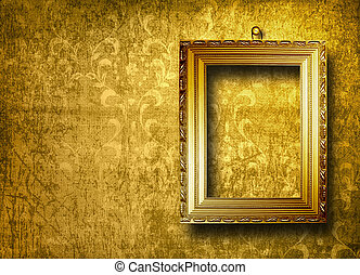 stile, vecchio, stanza, oro, parete, cornice, vittoriano