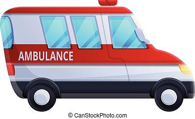stile, veicolo, icona, cartone animato, ambulanza